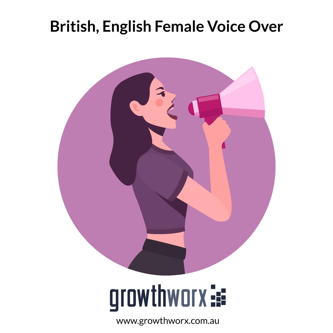I will record a british, english female voice over 1