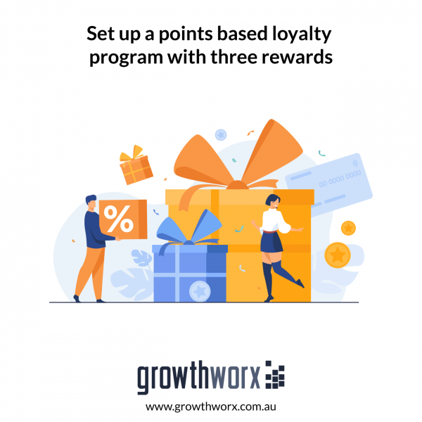 Set up a points based loyalty program with three rewards 1