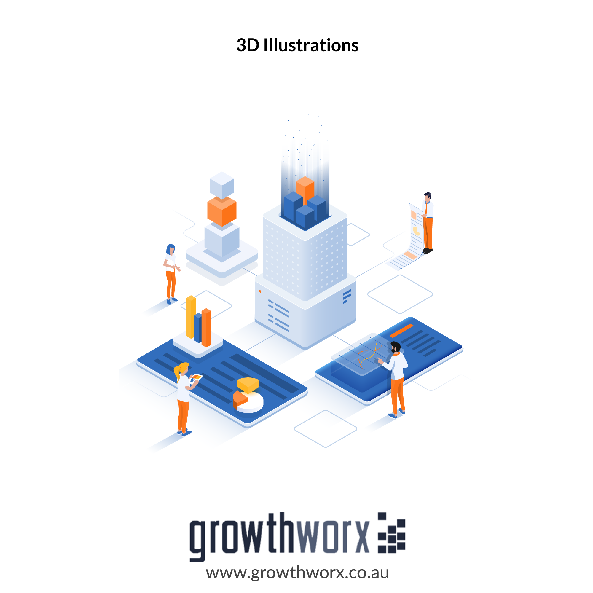 I will design an isometric illustration or logo for you in 3d 1