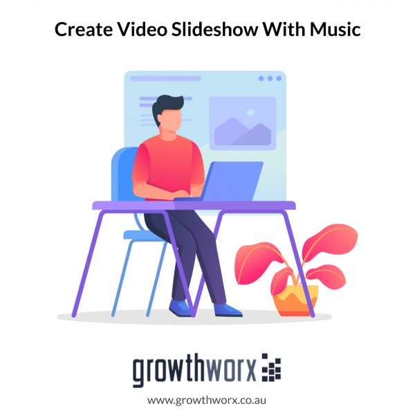 Create a video slideshow with music containing 50 images 1