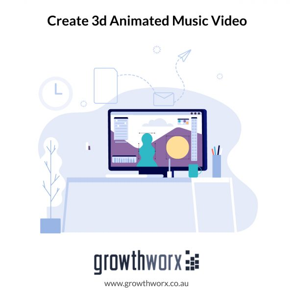 Create your 3d animated music video with duration of 20 seconds 1