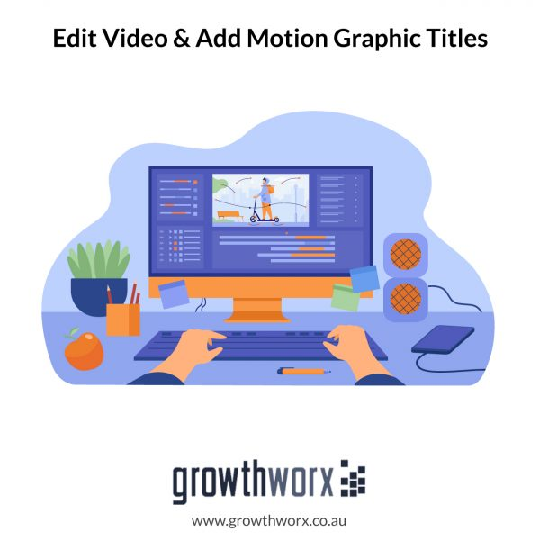 Edit your video and add motion graphic titles. Package includes: color grading, sound design 1
