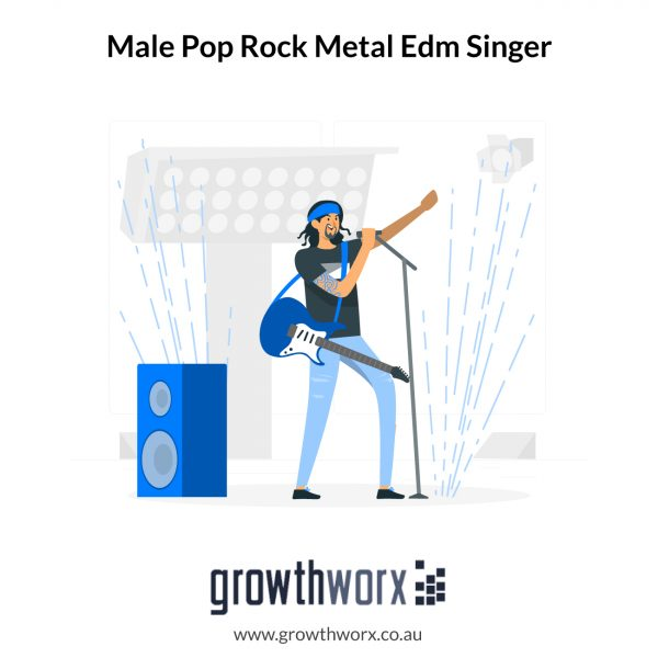 I will be your powerful male pop rock metal edm singer, vocals 1