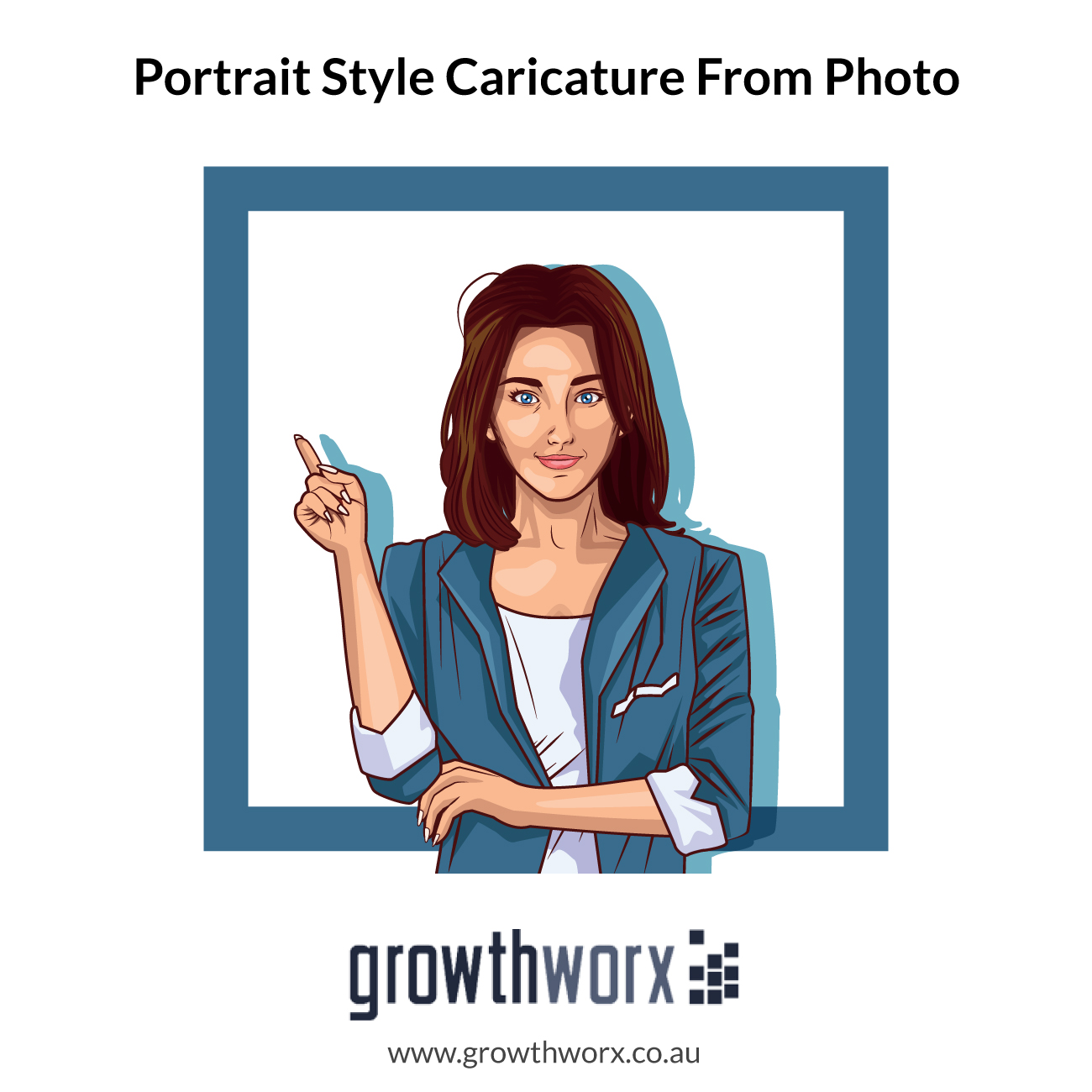 I will draw a portrait style caricature from photo 1