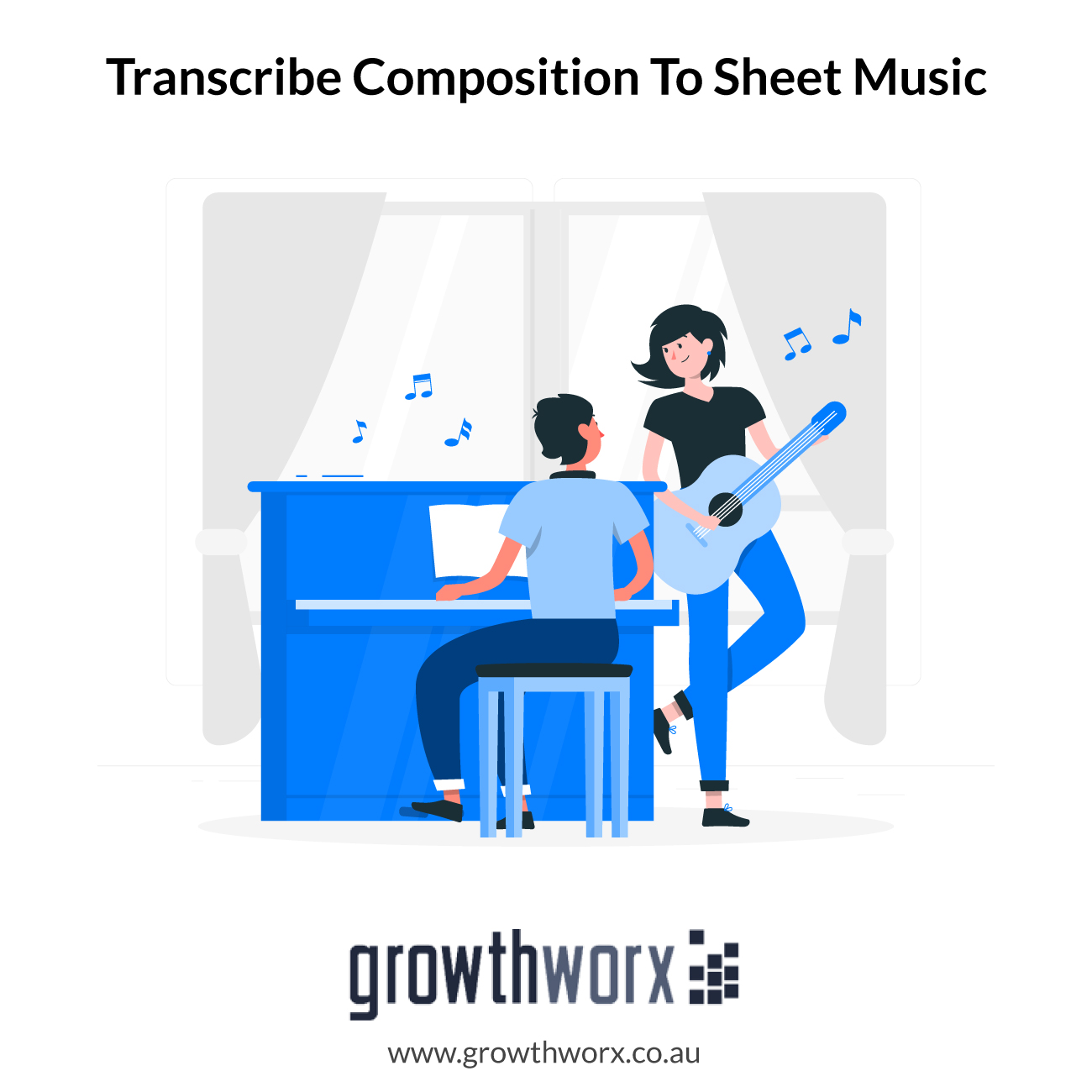 I will transcribe composition to sheet music for piano 1